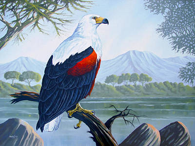 Poster featuring the painting African Fish Eagle by Anthony Mwangi