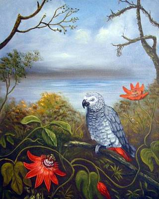 African Grey With Flowers Poster