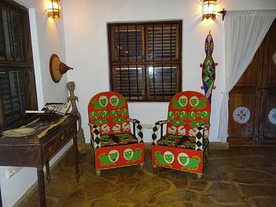 African Interior Design 5 Beaded Chairs Poster by Exploramum Exploramum