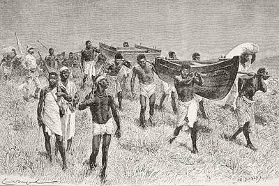 African Porters Carrying Henry Morton Poster