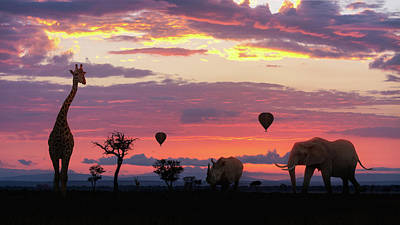 African Safari Colorful Sunrise With Animals Poster