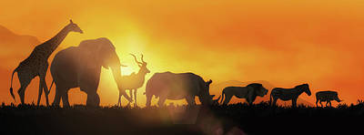 African Wildlife Sunset Silhouette Banner Poster
