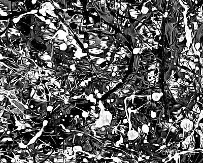 After Pollock Black And White Poster by Edward Fielding