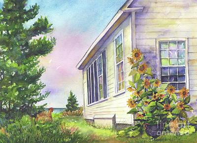 Poster featuring the painting After School Activities At Monhegan School House by Susan Herbst