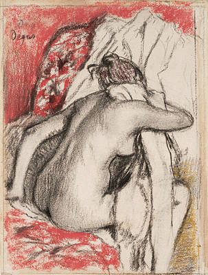 After The Bath Seated Woman Drying Herself Poster by Edgar Degas
