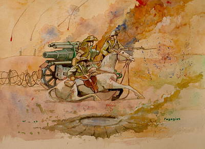 Poster featuring the painting After The Charge by Ray Agius
