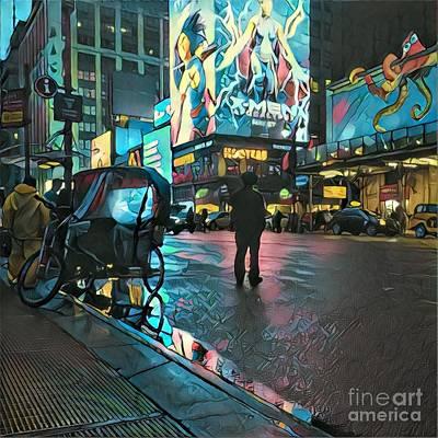 After They've Gone - Midnight In Manhattan Poster by Miriam Danar