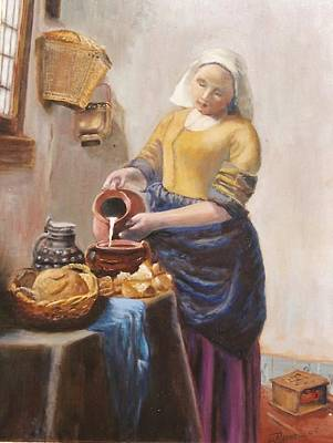 After Vermeer's Milkmaid Poster by Edward Merrell