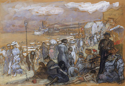 Afternoon At Coney Island Poster by William Glackens