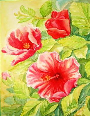Poster featuring the painting Afternoon Hibiscus by Inese Poga