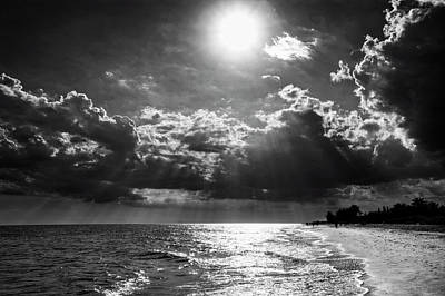 Afternoon On Sanibel Island In Black And White Poster