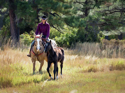 Afternoon Ride In The Sun - Cowgirl Riding Palomino Horse With Foal Poster