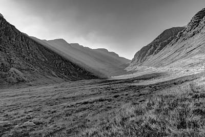 Poster featuring the photograph Afternoon Sun Rays Bealach Na Ba Black And White by Gary Eason