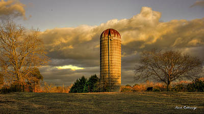 Afternoon Sunset Glow Rustic Silo Farm Art Poster by Reid Callaway