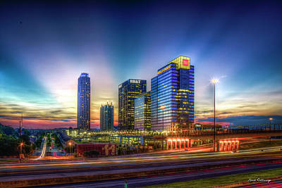 Poster featuring the photograph Aglow Atlanta Midtown Atlantic Station Sunset Art by Reid Callaway
