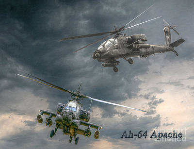 Ah-64 Apache Attack Helicopter In Flight Poster by Randy Steele