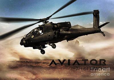 Ah-64 Apache Helicopter Poster by Fernando Miranda
