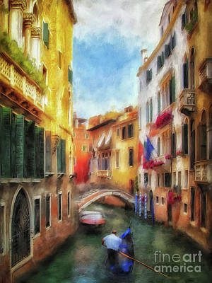 Poster featuring the digital art Ahh Venezia Painterly by Lois Bryan