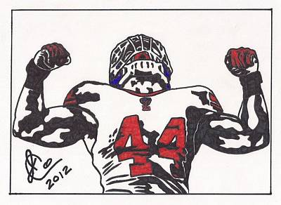 Poster featuring the drawing Ahmad Bradshaw by Jeremiah Colley