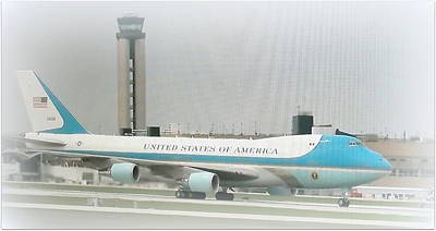 Air Force One At Mitchell Field Poster by Kay Novy