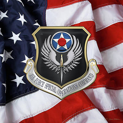 Air Force Special Operations Command -  A F S O C  Shield Over American Flag Poster by Serge Averbukh