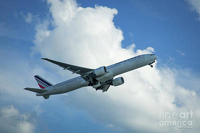 Air France Boeing 777-300er F-gsqa Departing Hartsfield-jackson Atlanta International Airport Art Poster