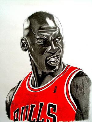Air Jordan Raging Bull Drawing Poster by Keeyonardo