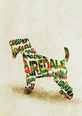 Airedale Terrier Watercolor Painting / Typographic Art Poster