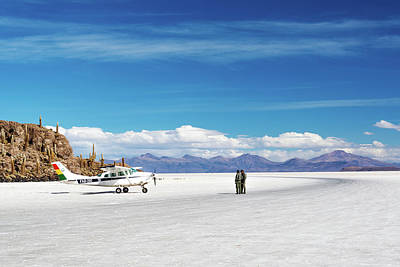 Airplane On Salt Flats Poster