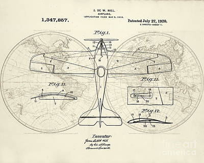 Airplane Patent Collage Poster by Delphimages Photo Creations