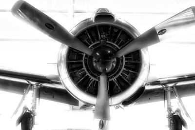 Airplane Propeller And Engine T28 Trojan 01 Bw Poster