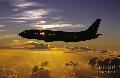 Airplane Sunset Poster