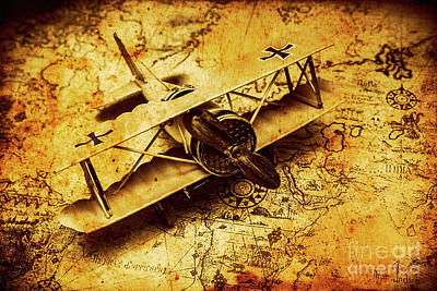 Airplane War Bomber Miniature On Vintage Map Poster by Jorgo Photography - Wall Art Gallery