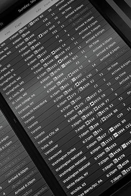 Airport Arrival Board B W Poster