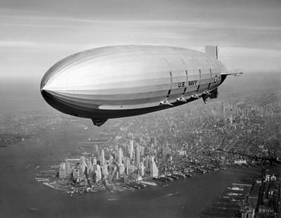 Airship Flying Over New York City Poster by War Is Hell Store