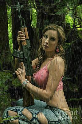 Ak47 In The Rain Poster