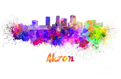 Akron Oh Skyline In Watercolor Poster