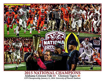 Alabama Crimson Tide 1 White Background Ncaa 2015 National Champions College Football Poster by Rich image