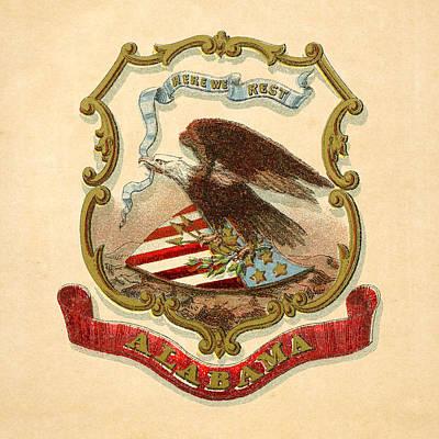 Alabama Historical Coat Of Arms Circa 1876 Poster by Serge Averbukh