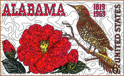 Alabama Statehood 150th Anniversary Poster by Lanjee Chee