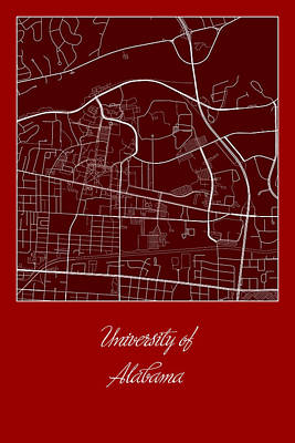 Alabama Street Map - University Of Alabama Tuscaloosa Map Poster by Jurq Studio