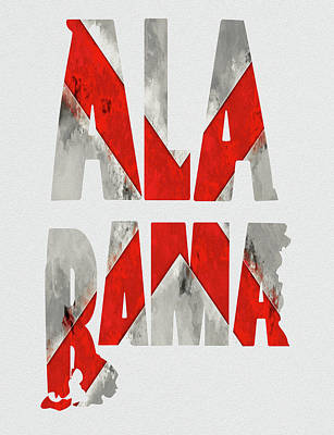 Alabama Typography Map Flag Poster by Kevin O'Hare
