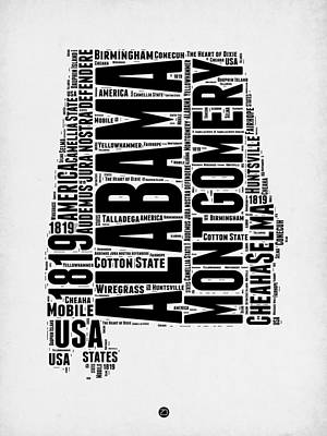 Alabama Word Cloud 2 Poster by Naxart Studio
