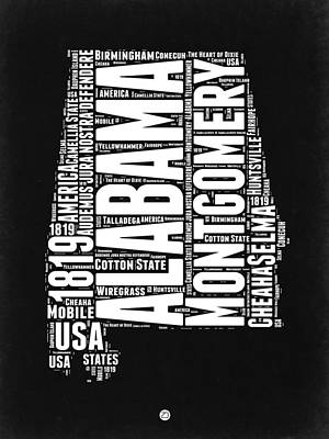 Alabama Word Cloud Black And White Map Poster by Naxart Studio
