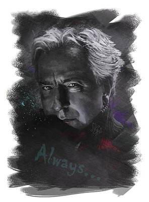 Poster featuring the drawing Alan Rickman by Julia Art
