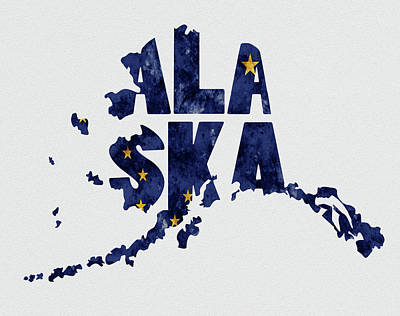 Alaska Typography Map Flag Poster by Kevin O'Hare