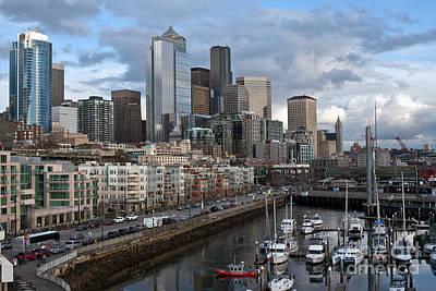 Alaska Way Seattle Skyline Poster by Mike Reid