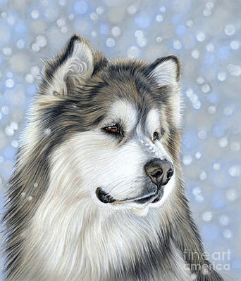 Poster featuring the mixed media Alaskan Malamute by Donna Mulley