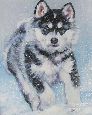 alaskan Malamute pup in snow Poster by Lee Ann Shepard