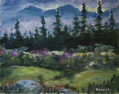 Poster featuring the painting Alaskan Woods by Yulia Kazansky